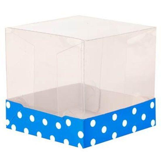 FL - Caixinha PVC para Cupcake nº 1 Petit Poá Azul - 10 unidades