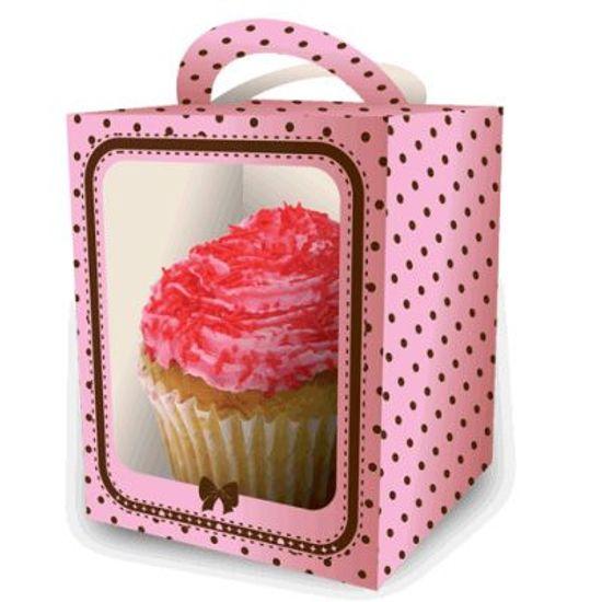 FL - Caixa para Cupcake FESTCOLOR Rosa e Marrom Petit Poá - 08 unidades
