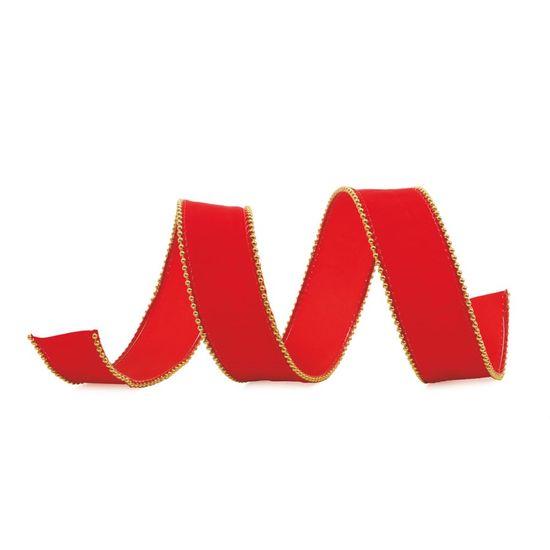 Fita de Natal Veludo Vermelho 6,3cm (Fita para Presente) - 3 Unidades