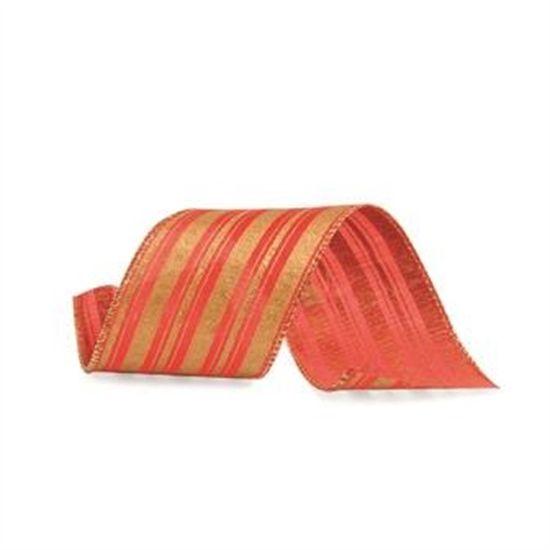 Fita Listras Glitter Vermelho e Ouro 6,3 cm x 9,14 mts (Fitas Natalinas) - 3 Unidades