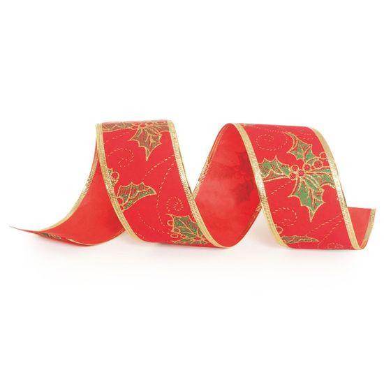 Fita de Natal Azevinho Vermelho 6,3cm (Fita para Presente) - 1 Rolo
