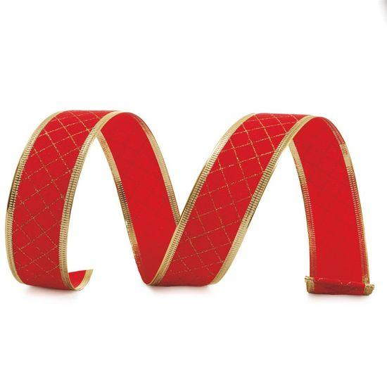Fita de Natal Quadriculada Vermelho e Ouro 6,3cm (Fita para Presente) - 3 Unidades