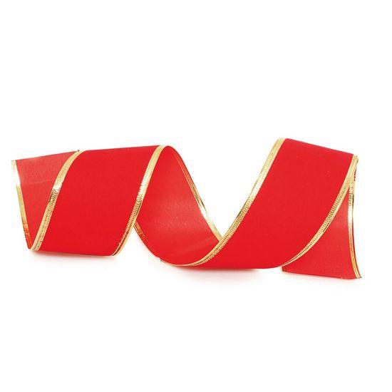 Fita de Natal Veludo com Filete Vermelho e Ouro 3,8cm (Fita para Presente) - 3 Unidades