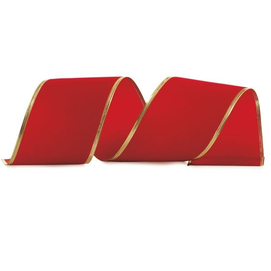 Fita Veludo Vermelho 10 cm x 9,14 mts