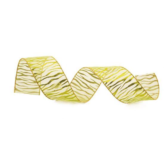 Fita de Natal Listras de Zebra Verde Claro 3,8cm (Fita para Presente) - 1 Rolo