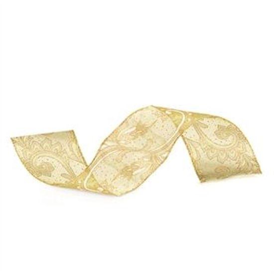 Fita de Natal com Flor Verde Claro 6,3cm (Fita para Presente) - 1 Rolo