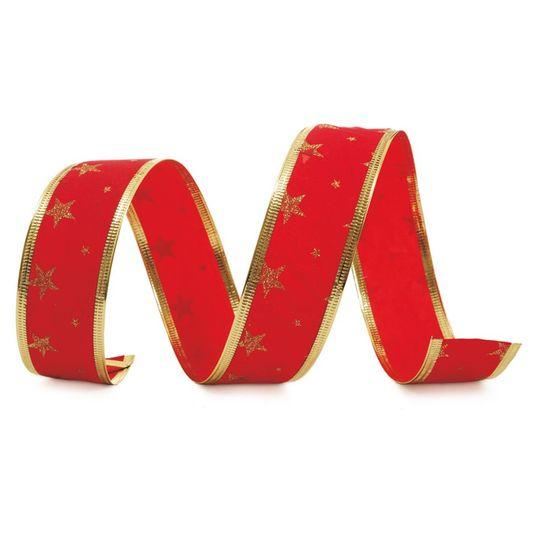 Fita de Natal Veludo Estrelas Vermelho e Ouro 3,8cm (Fita para Presente) - 1 Rolo