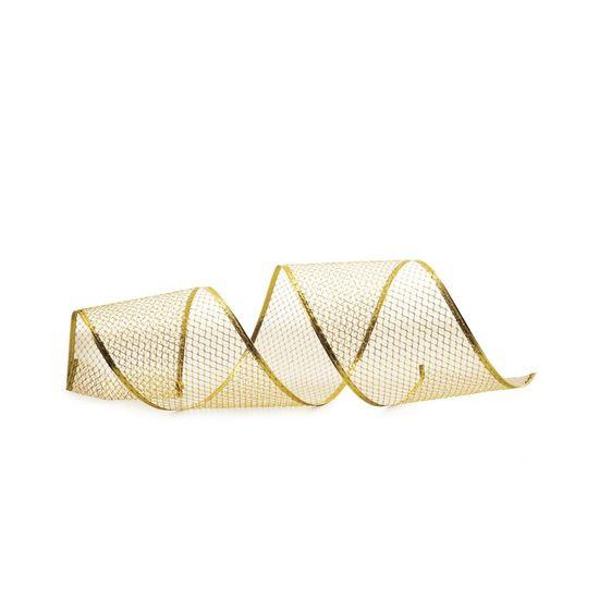 Fita de Natal Tela Filete na Borda Ouro 10cm (Fita para Presente) - 1 Rolo