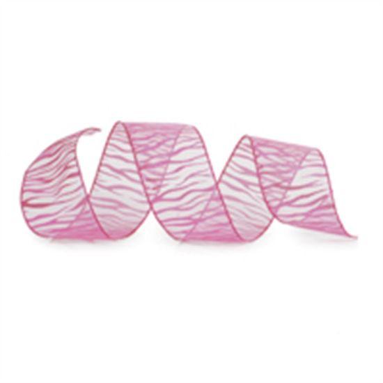 Fita de Natal Listras de Zebra Rosa Claro 6,3cm (Fita para Presente) - 3 Unidades