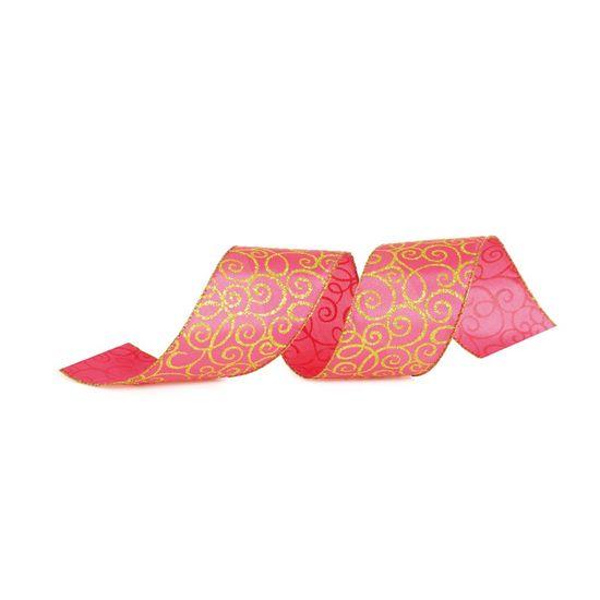 Fita de Natal Arabesco Rosa Claro e Verde 6,3cm (Fita para Presente) - 3 Unidades