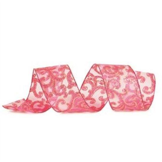 Fita de Natal Arabesco com Glitter Rosa Claro 6,3cm (Fita para Presente) - 1 Rolo