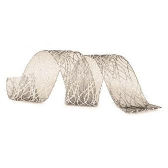 Fita de Natal Rabisco Glitter Preto e Prata 6,3cm (Fita para Presente) - 3 Unidades