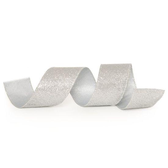 Fita de Natal Glitter Prata 6,3cm (Fita para Presente) - 3 Unidades