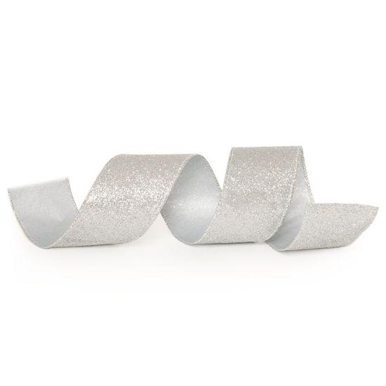 Fita de Natal Glitter Prata 3,8cm (Fita para Presente) - 3 Unidades