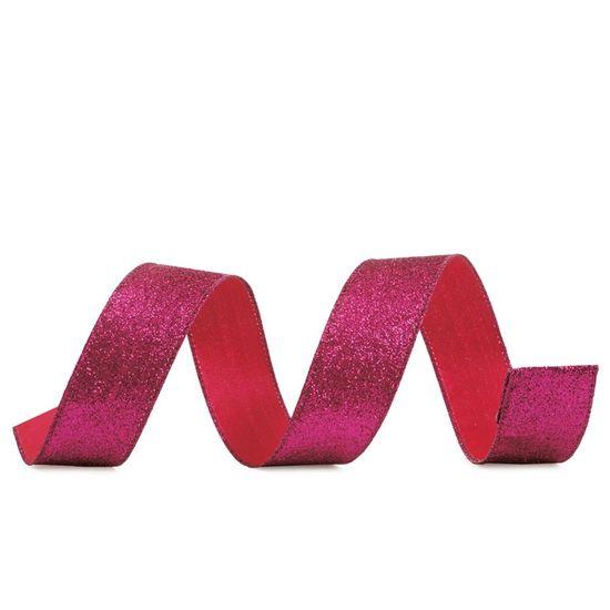 Fita de Natal Glitter Rosa 3,8cm (Fita para Presente) - 3 Unidades