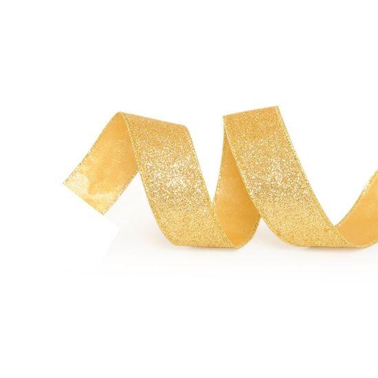 Fita de Natal Glitter Ouro 3,8cm (Fita para Presente) - 3 Unidades