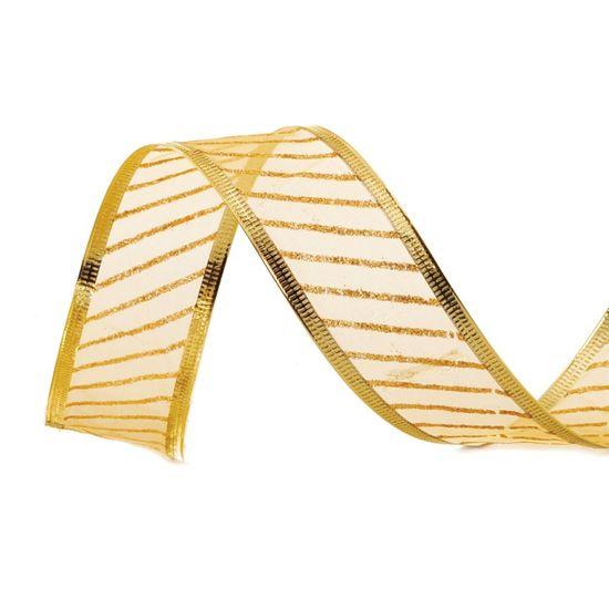 Fita de Natal Voal com Listras Ouro 6,3cm (Fita para Presente) - 3 Unidades