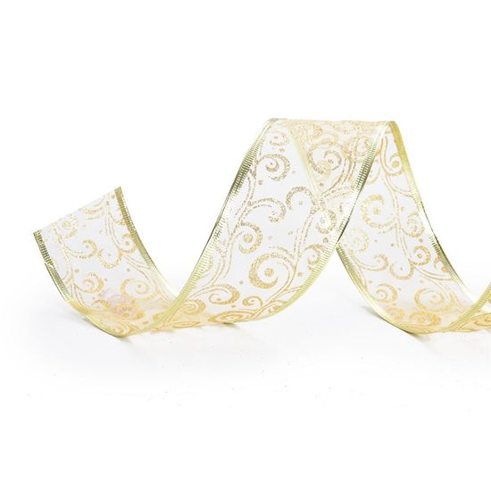 Fita Voal Caracol Ouro 6,3 cm x 9,14 mts (Fitas Natalinas) - 3 Unidades