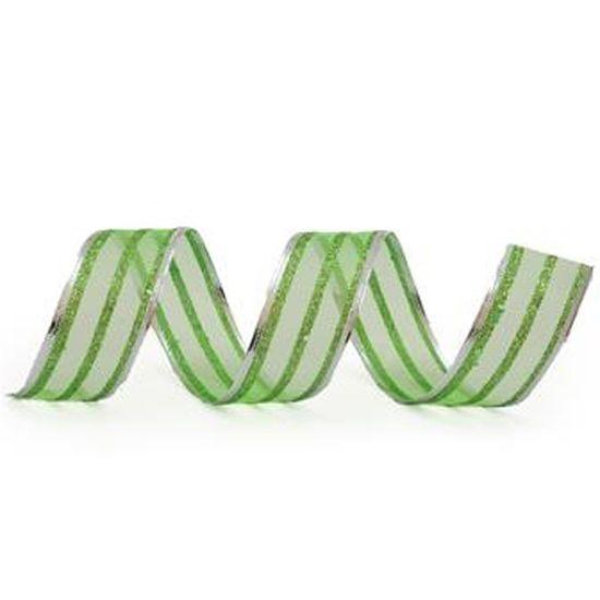 Fita de Natal Listras Verde Claro 6,3cm (Fita para Presente) - 3 Unidades