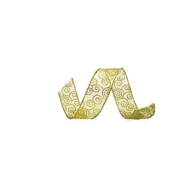 Fita Voal Caracol Verde Claro 6,3 cm x 9,14 mts (Fitas Natalinas) - 3 Unidades