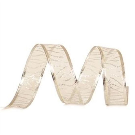 Fita Organza Zebrada Branco e Prata 3,8 cm x 9,14 mts (Fitas Natalinas) - 3 Unidades