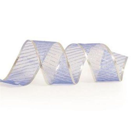 Fita Organza com Listras Azul Claro 6,3 cm x 9,14 mts