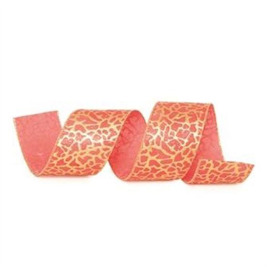 Fita OnÁa com Glitter Vermelho e Ouro 6,3 cm x 9,14 mts (Fitas Natalinas) - 3 Unidades