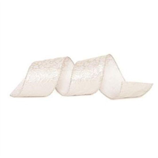 Fita de Natal Onça com Glitter Prata 6,3cm (Fita para Presente) - 1 Rolo