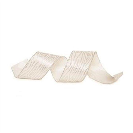 Fita de Natal Madeira Glitter Branco e Prata 6,3cm (Fita para Presente) - 1 Rolo