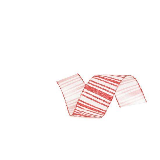 Fita Listras Glitter Branco e Vermelho 6,3 cm x 9,14 mts