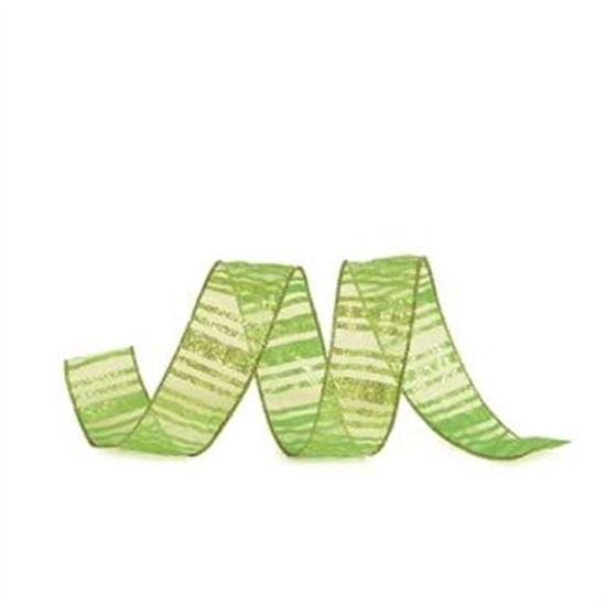 Fita Listras com Glitter Verde Claro 3,8 cm x 9,14 mts (Fitas Natalinas) - 3 Unidades