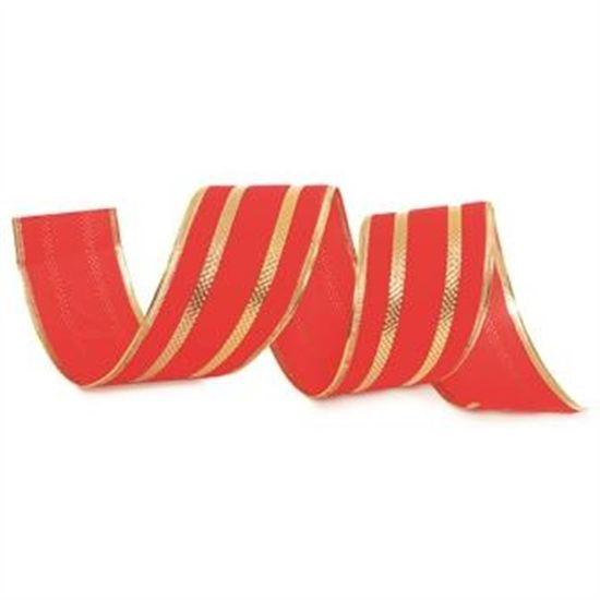 Fita de Natal Veludo Filete Vermelho e Ouro 6,3cm (Fita para Presente) - 3 Unidades