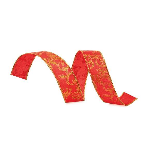 Fita de Natal com Desenhos Vermelho e Ouro 3,8cm (Fita para Presente) - 3 Unidades