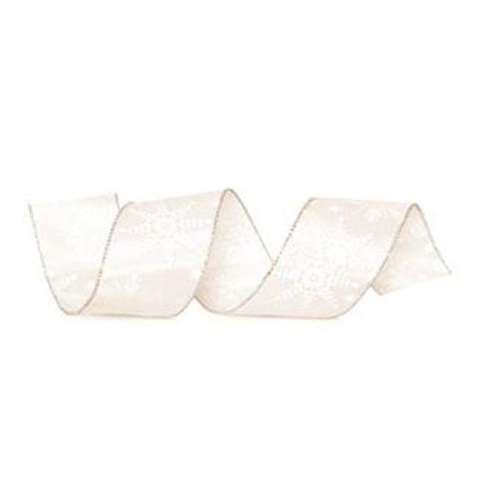 Fita Floco Neve Branca 6,3 cm x 9,14 mts (Fitas Natalinas) - 3 Unidades