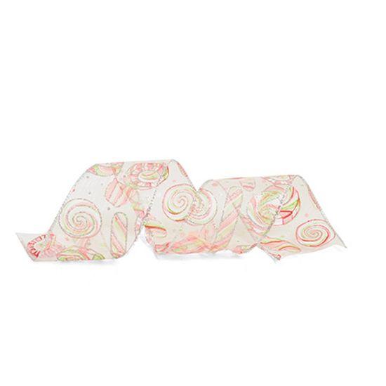 Fita de Natal com Bengala Branco 6,3cm (Fita para Presente) - 1 Rolo