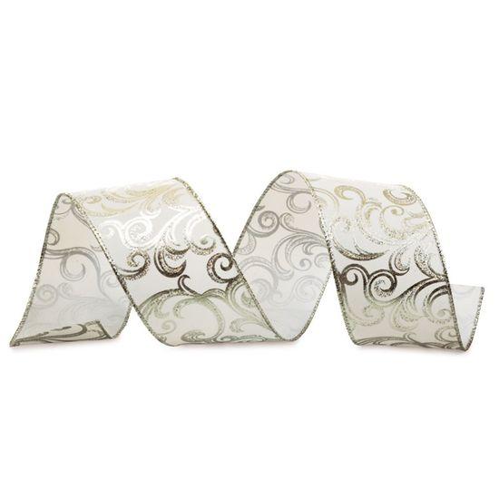 Fita Arabesco Met·lico Prata 6,3 cm x 9,14 mts