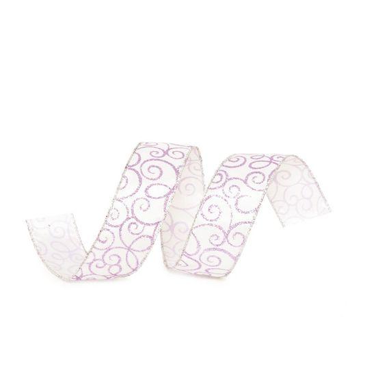 Fita de Natal Arabesco Branco e Lilás 3,8cm (Fita para Presente) - 3 Unidades