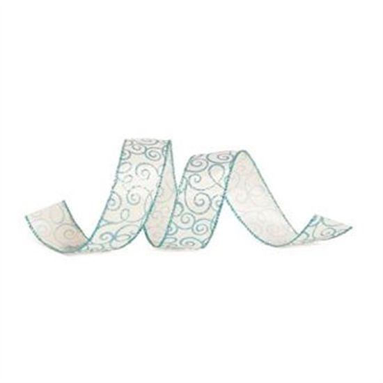 Fita Arabesco Branco e Azul Claro 3,8 cm x 9,14 mts (Fitas Natalinas) - 3 Unidades