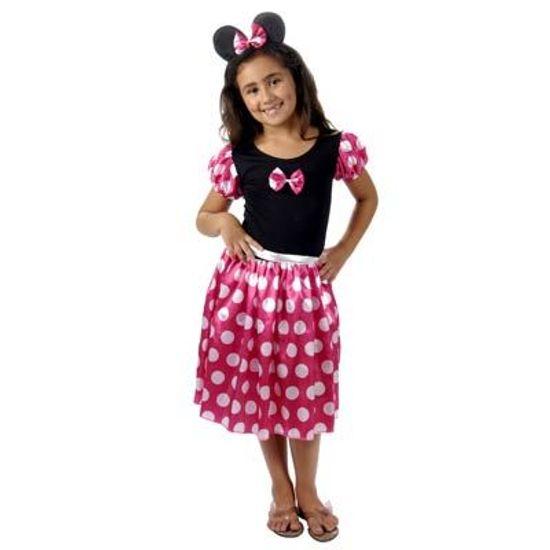 FL - Fantasia Infantil Ratinha Rosa com Bolinhas Brancas M(6 a 8 anos)