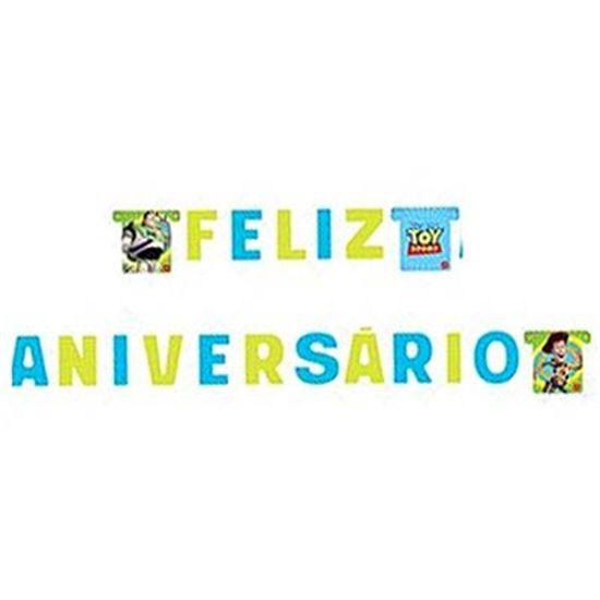 Festa Toy Story - Faixa Feliz Aniversário Toy Story no Espaço Faixa Feliz Aniversário Toy Story no Espaço