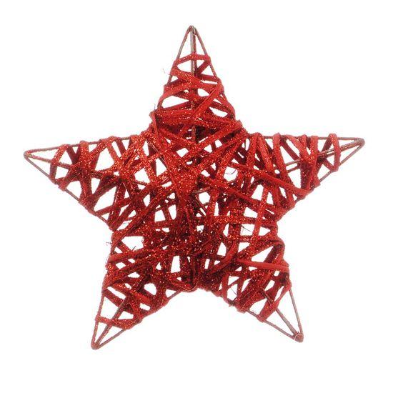 Estrela Rattan Vermelho 20cm (Rattan) - 6 Unidades