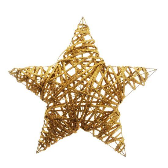 Estrela Rattan Ouro 40cm (Rattan) - 3 Unidades