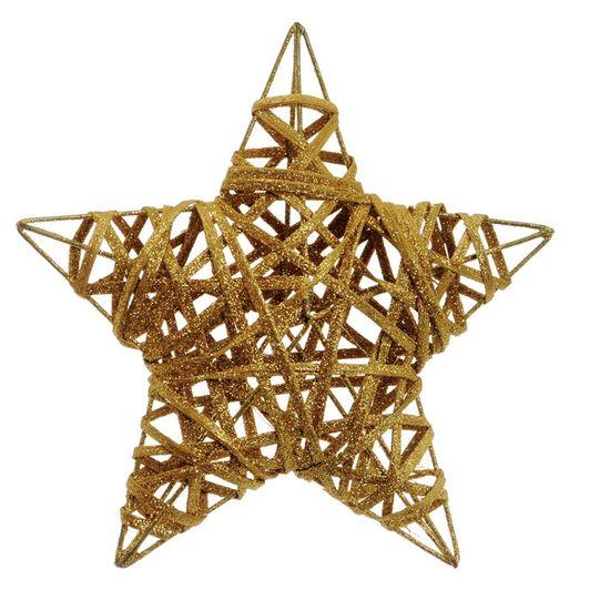 Estrela Rattan Ouro 20cm (Rattan) - 6 Unidades