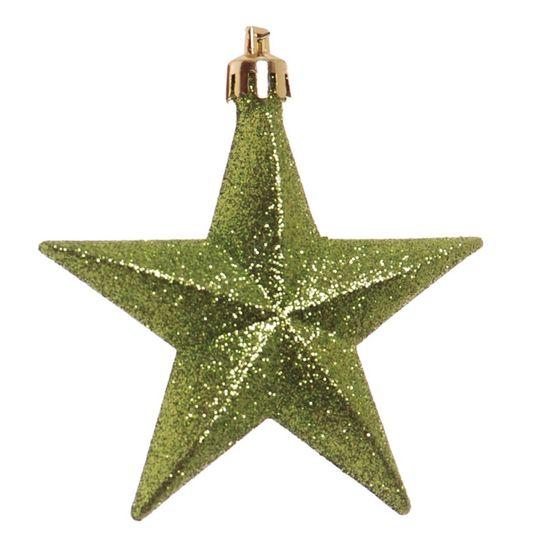 Enfeite para Pendurar - Estrela Verde (Enfeites) - Jogo com 6 Peças