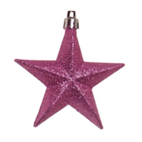 Estrela com Glitter Rosa (Enfeites)  - 1  Jogo com 6 Peças