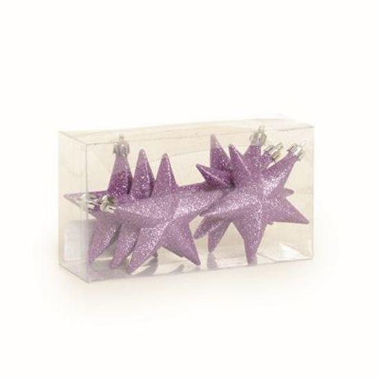 Enfeite - Estrela com Glitter Lilás (10cm) 06 unidades