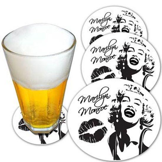 Descanso de Copo para Chopes e Drinques Marilyn Monroe - 08 unidades