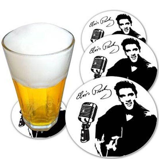 Descanso de Copo para Chopes e Drinques Elvis Presley - 08 unidades