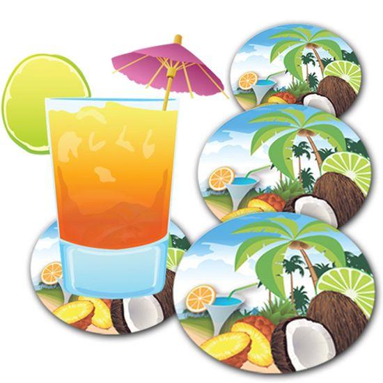 Descanso de Copo para Chopes e Drinques Festa Havaiana - 08 unidades