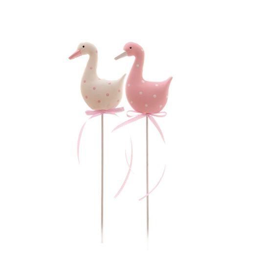 Cromus - Picks Resina Pato Rosa e Branco - 1 Jogo com 8 Unidades